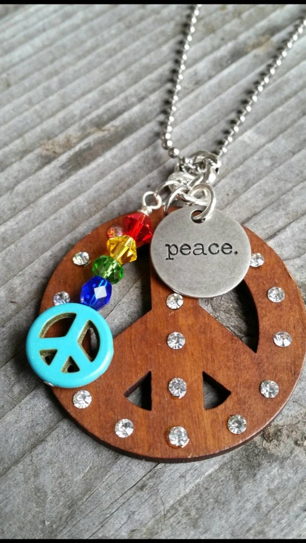 Large Wooden Peace Sign Pendant With Charms And