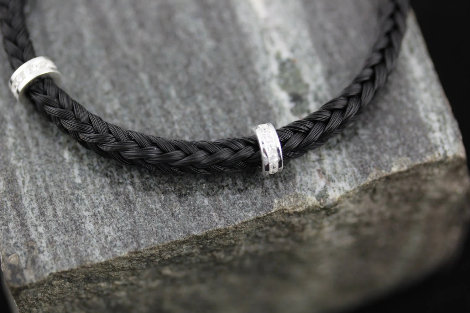 Custom Horse Hair Bracelet Square Braid Sterling Silver