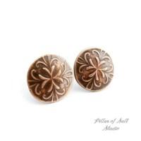 Copper stud earrings / 12mm round circle earrings / earthy