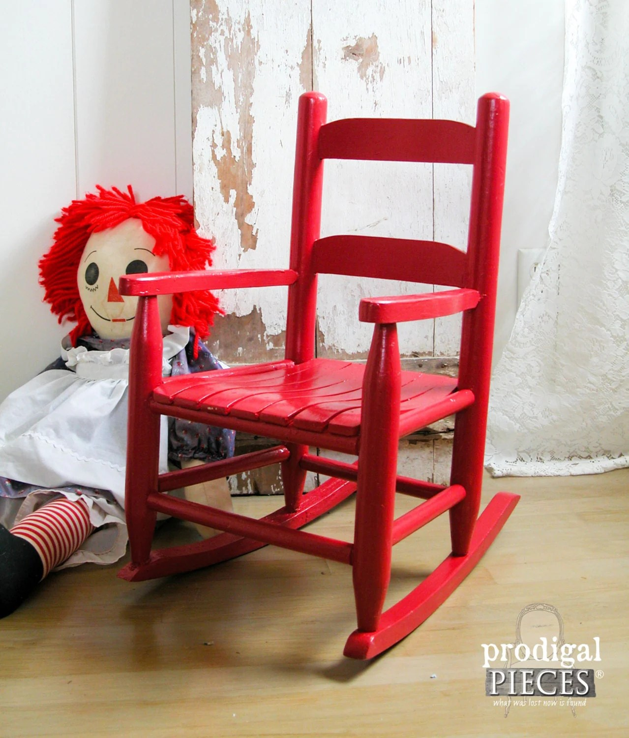 Toddler Wooden Rocking Chair Vintage Wooden Slat Red Child 39s Kids Rocking Chair