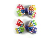 rainbow owl hair bow set bright