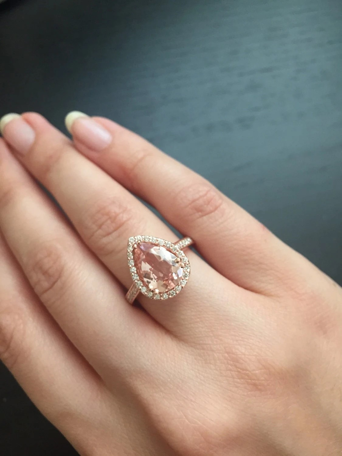 14K Rose Gold PearShaped Morganite Ring Style L4825