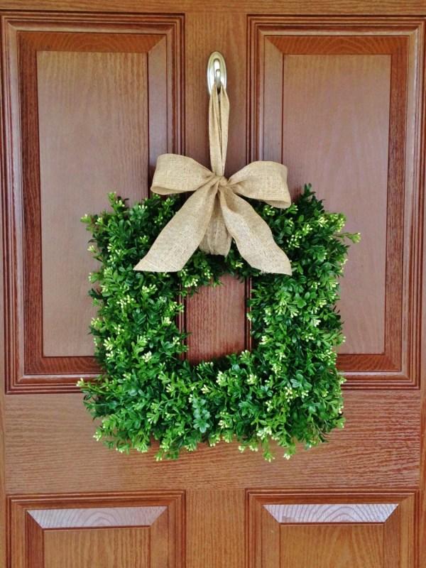 Square Boxwood Wreath Faux Artificial