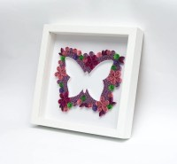 Unique Quilled Wall Art Pink Butterfly Unusual by ...