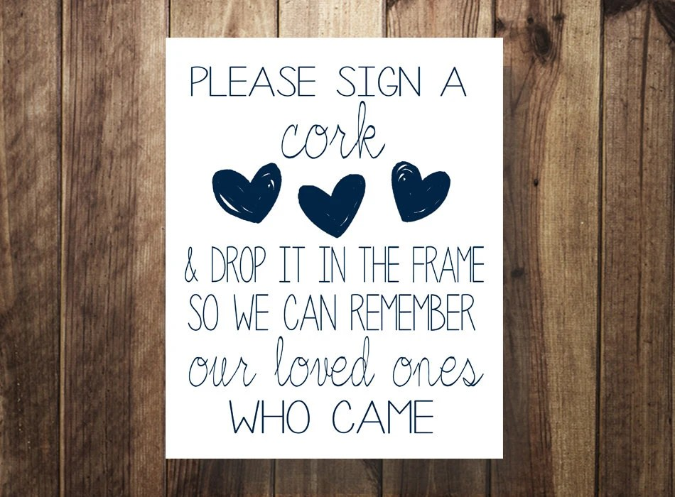 Please Sign A CORK Navy Wedding Guest Book Sign Our