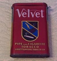 Vintage advertising tin Velvet pipe and cigarette tobacco