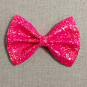 neon pink glitter bow tie bright