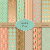 Coral Mint and Gold Digital Paper: Coral Mint and Gold