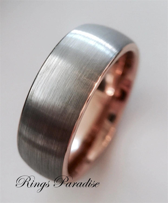 Wedding Bands Rose Gold Bands Rose Gold Ring Tungsten
