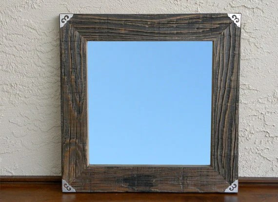 Reclaimed Wood Mirror With Silver Metal Corners. Rustic Home