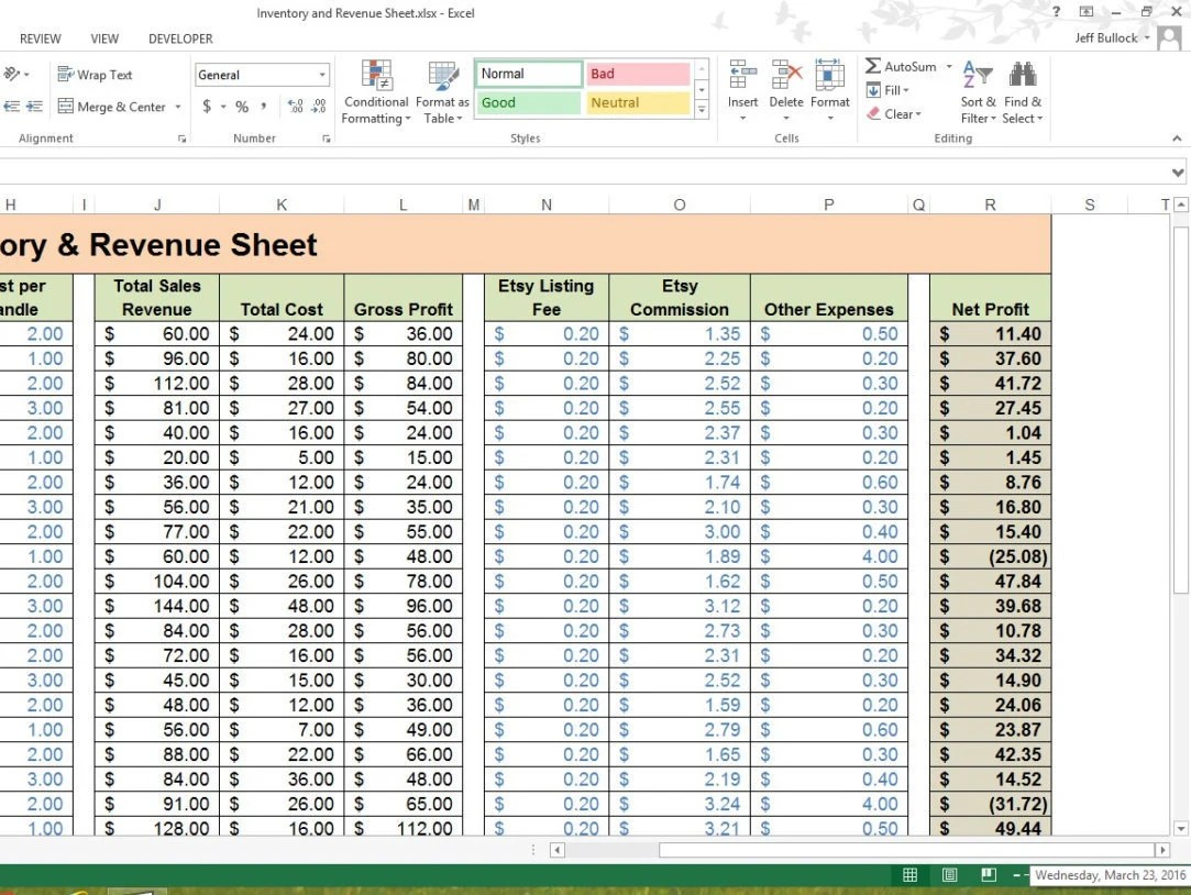 Inventory Amp Revenue Sheet Excel Spreadsheet Small By Eddybrands