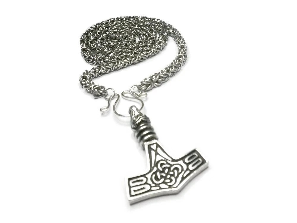 Steel Viking King Chain with Pewter Mjolnir Pendant Chain