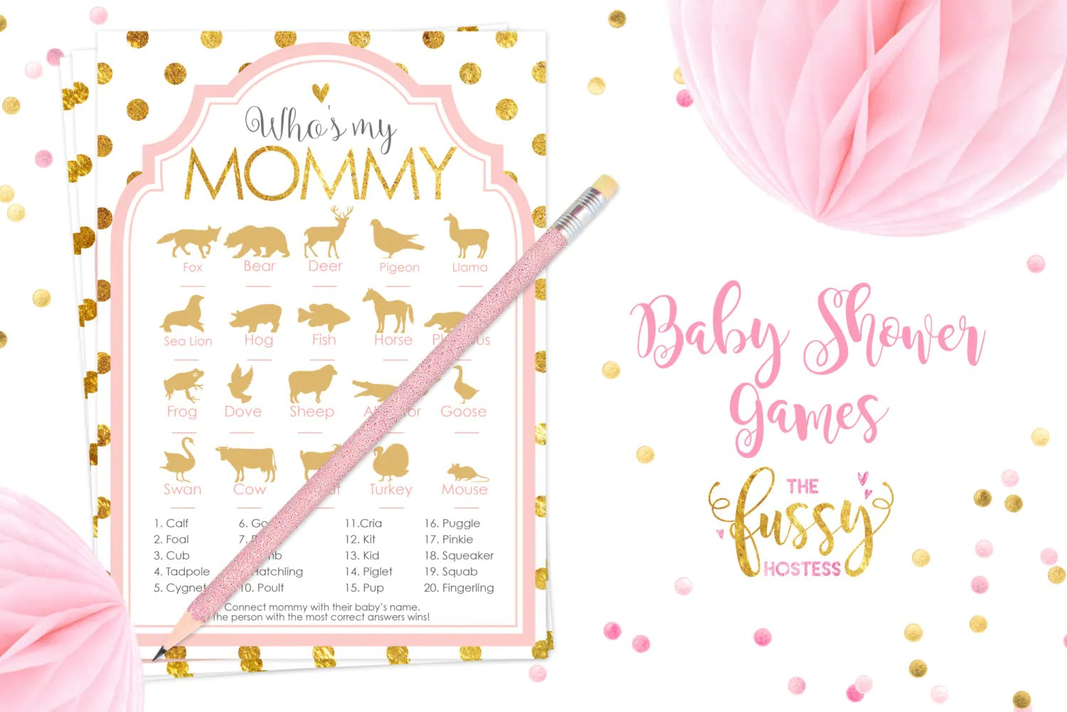 Who Is My Mommy Baby Shower Games Animal Names Matching