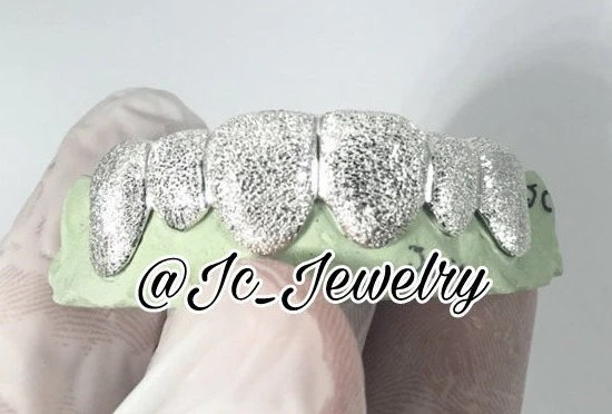 Custom 10K 14K White Gold Grillz Plated FULL Diamond Dust