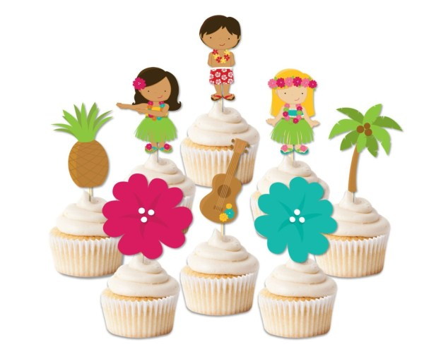 Luau Cupcake Toppers Party Decor