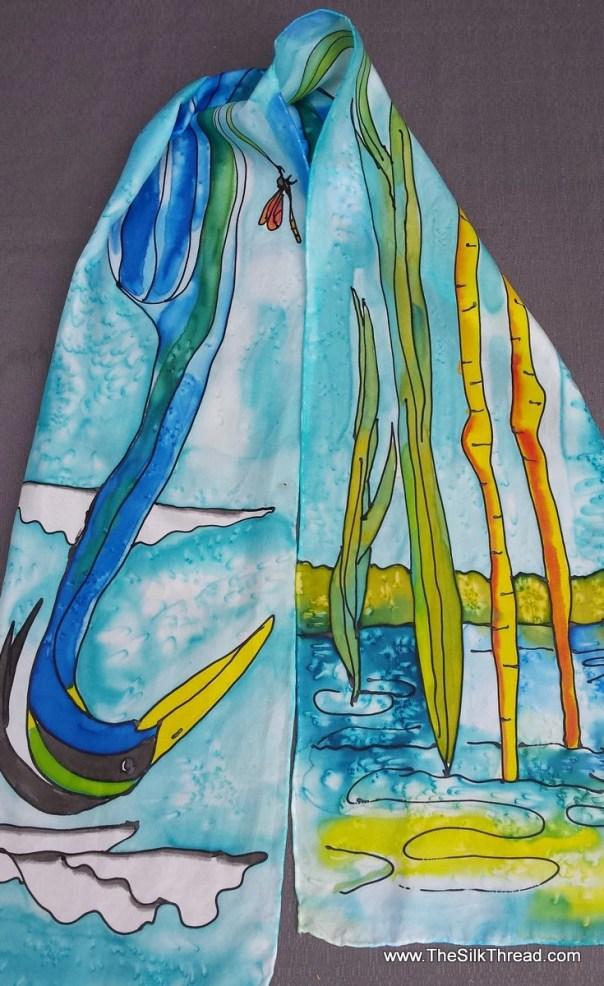 "Great Blue Heron on Silk Scarf. Blue & green, 8x54"" Original hand drawn coastal Bird art by artist M Theresa Brown, custom designs available"