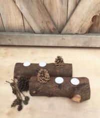 2 PC Fireplace Log Candle Holders Log Tea lights Reclaimed
