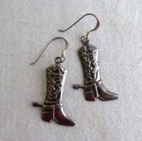 Vintage Sterling Cowboy Boot Earrings Dangle by RomanysVintage