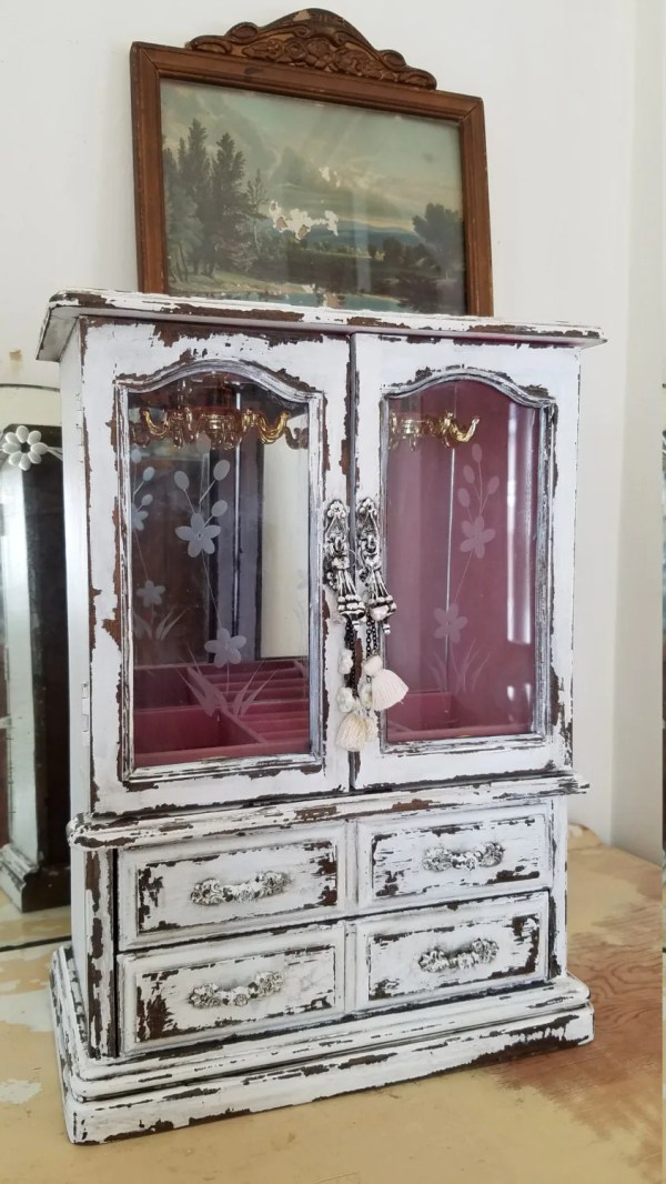 Shabby Wood Jewelry Armoire With Unique Charms