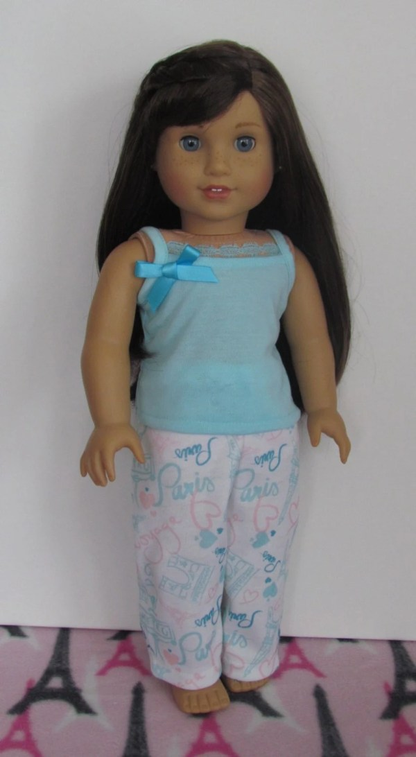 American Girl doll Paris print pajama pants and aqua tank top