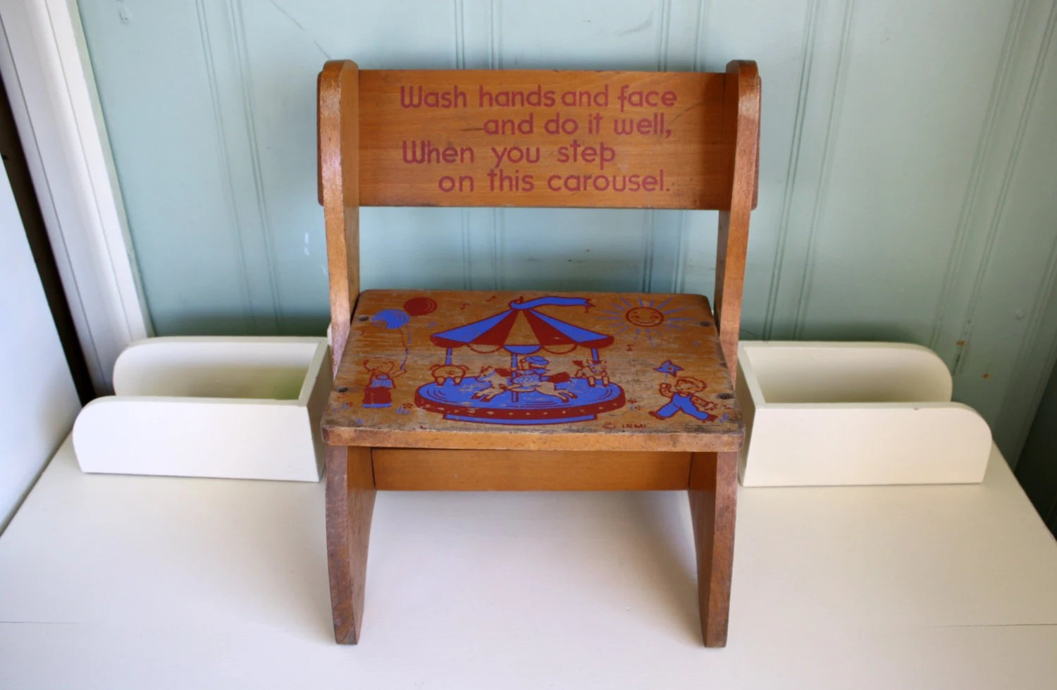 Wooden Step Stool Chair Childs Step Stool Folding Chair Irmi Carousel 1950s Wood