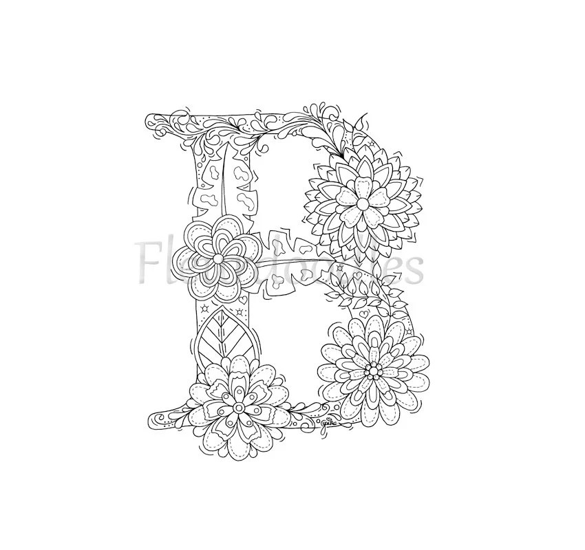 adult coloring page floral letters alphabet B hand