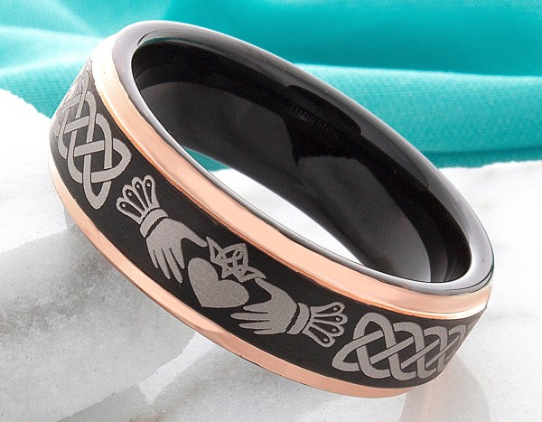 Celtic Claddagh Ring Tungsten Wedding Band 7mm Celtic Knot