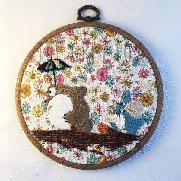 Totoro Studio Ghibli Ooak Embroidery Hoop Floral Background