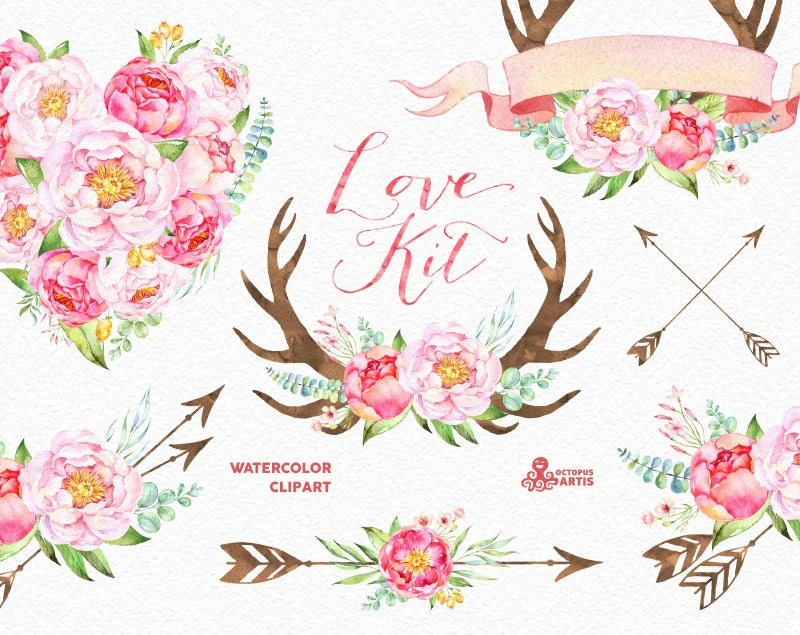 Peony Love Quote Wallpaper Love Kit Watercolor Flowers Clipart Peonies Arrows
