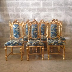 Gold Dining Chairs Best Travel High Chair Booster Seat Blue Antique Italian Baroque Set Of