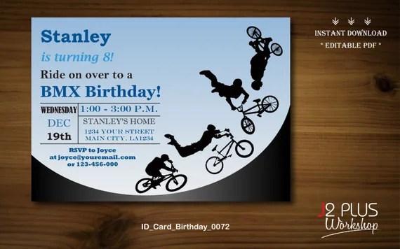 INSTANT DOWNLOAD Birthday Invitation Bmx Bicycle Birthday