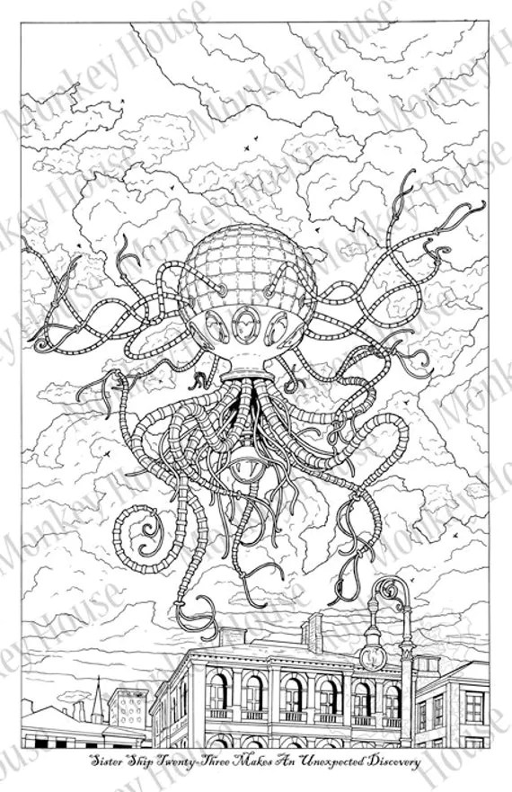 Steampunk Coloring Page Sister Ship