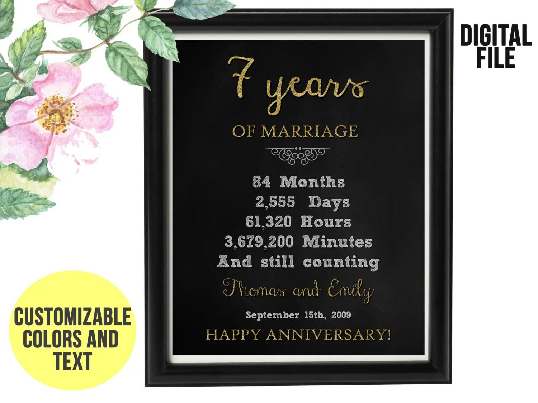 7 Years Wedding Anniversary Gift 7th Anniversary PRINTABLE