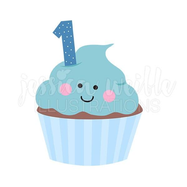 blue boys birthday cupcake