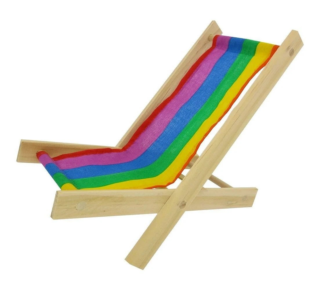 Folding Wood Beach Chair Toy Wooden Folding Beach Chair Multicolor Stripe Fabric