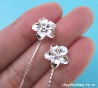 Plumeria flower earrings Long Stem Earrings Plumeria earrings