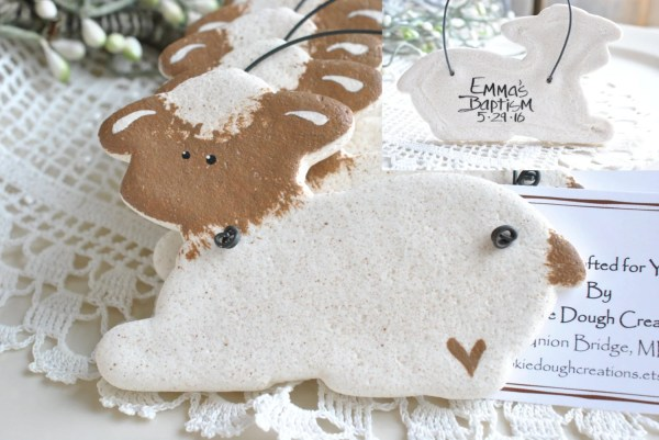 Personalized Lamb Salt Dough Baptism Ornament Christening