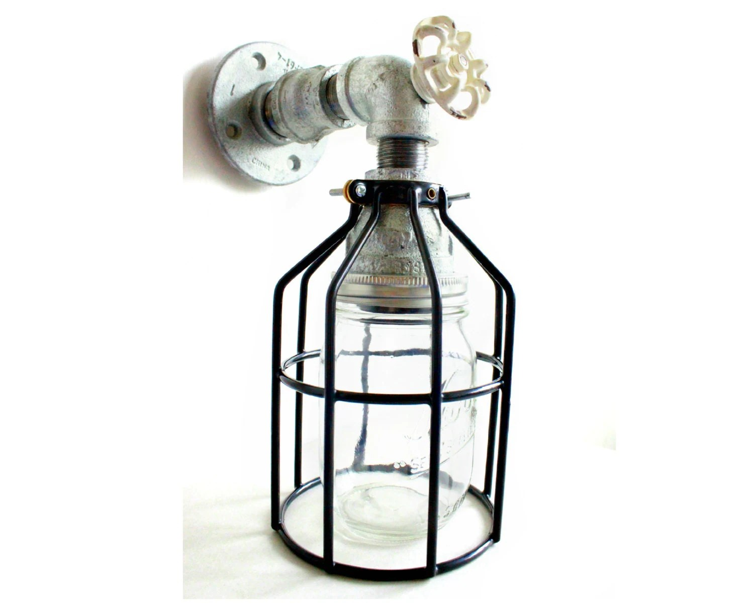Galvanized Pipe Wall Sconce Industrial Farmhouse Mason Jar