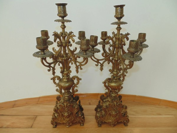 Rare Antique Victorian French 5 Arms Candelabra Pair 2