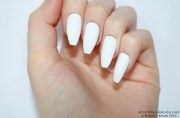 matte white coffin nails nail design