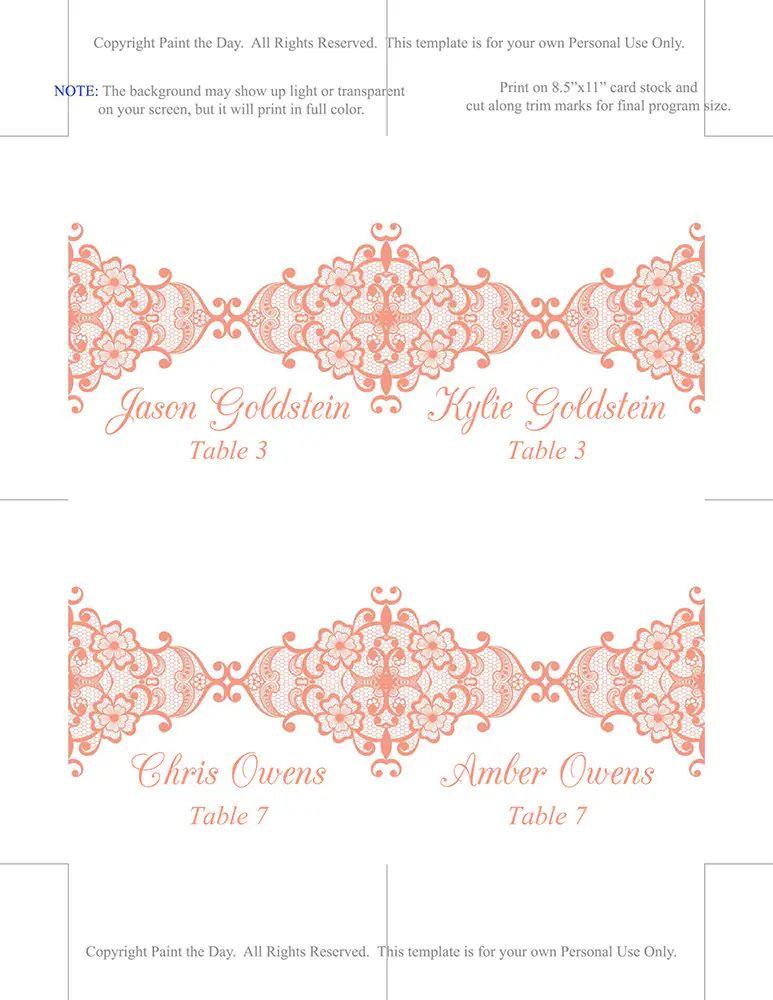 name card template wedding