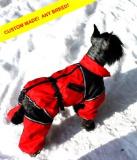 CUSTOM FIT Dog Winter Clothes. Custom Made Dog Snowsuit.