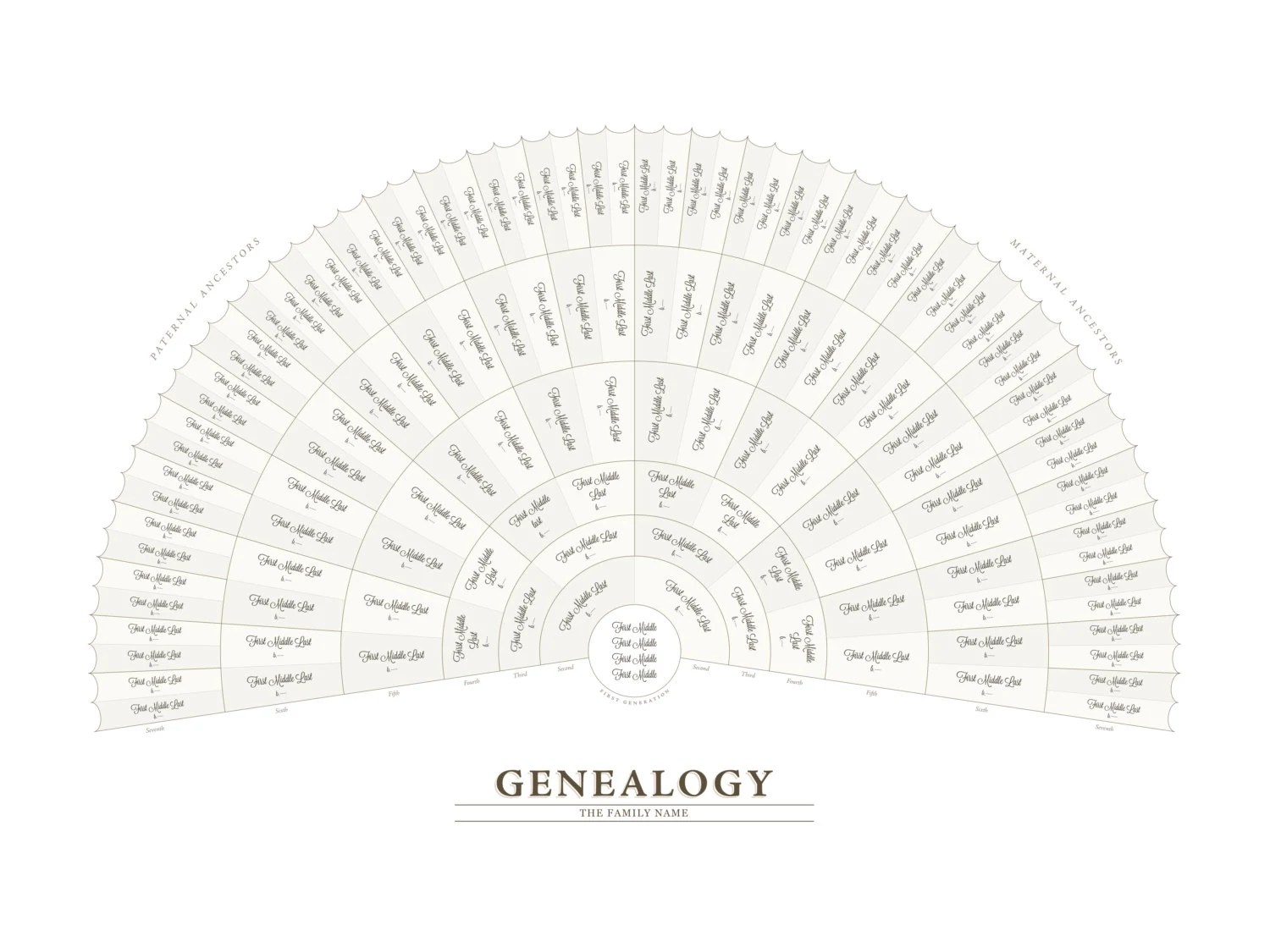 Genealogy Fan Chart Adobe Illustrator Template