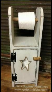 Primitive Toilet Paper Holder Bathroom Cabinet Dispenser Wood