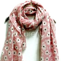 White Daisy Pale Pink Scarf / Spring Summer Scarf / Women