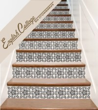 Stair Decals . English Cottage Vinyl Staircase Steps Decor