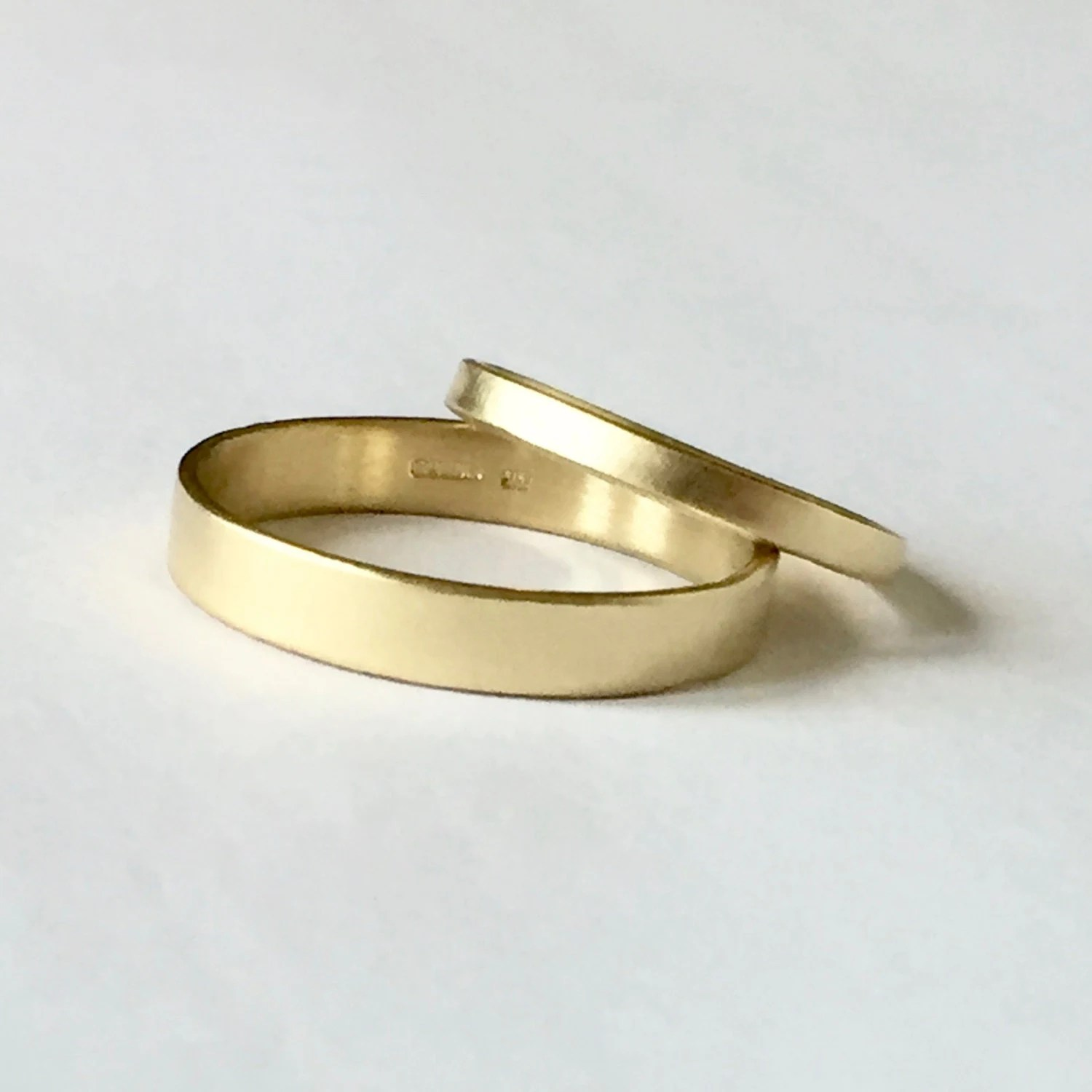 Wedding Band Set Two Plain Gold Rings His and Hers by