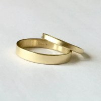 Wedding Band Set Two Plain Gold Rings His and Hers by ...