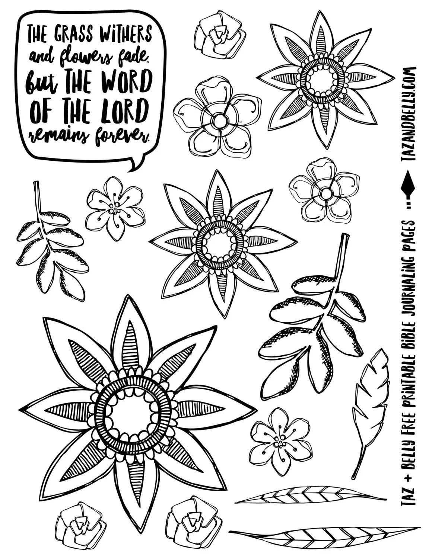 PRINTABLE Floral Bible Journaling Images download