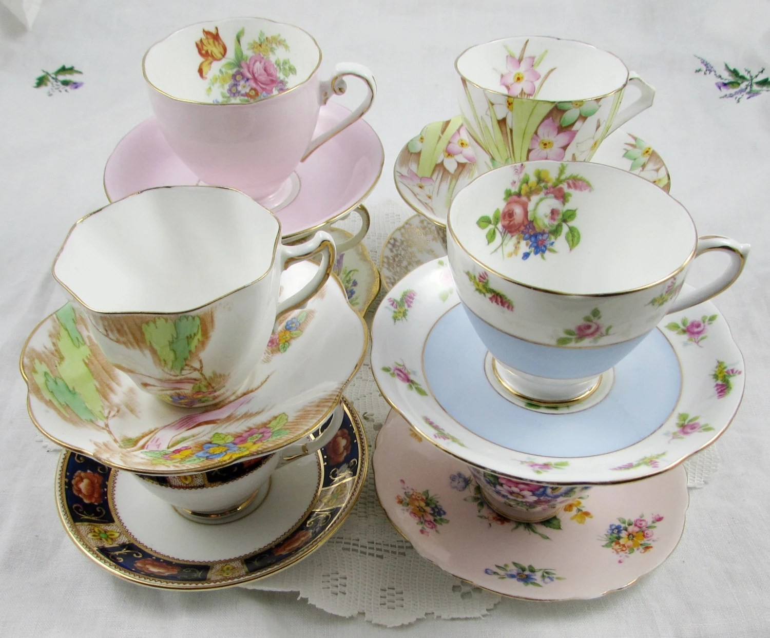 60 Vintage Tea Cups and Saucers for Your Wedding or by